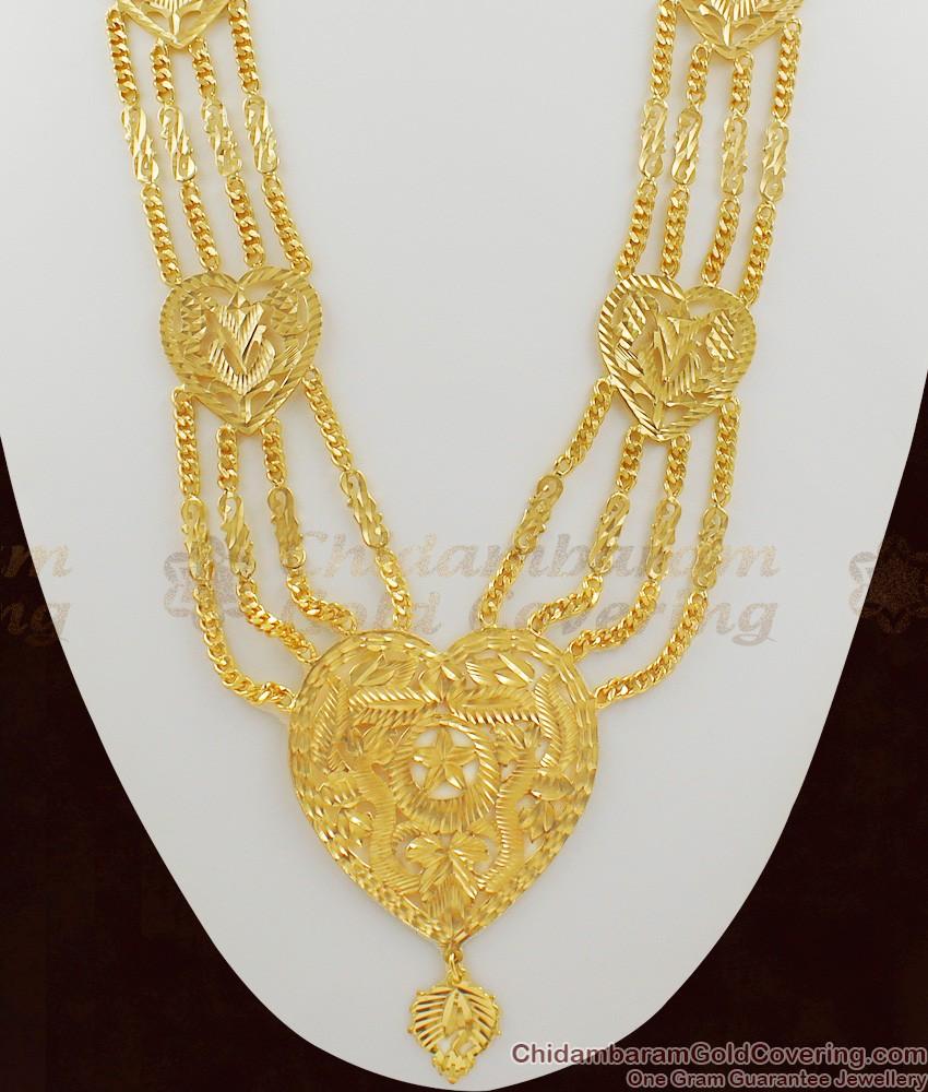 Big Heart Dollar Four Line Gold Governor Malai Heavy Long Haram HR1004