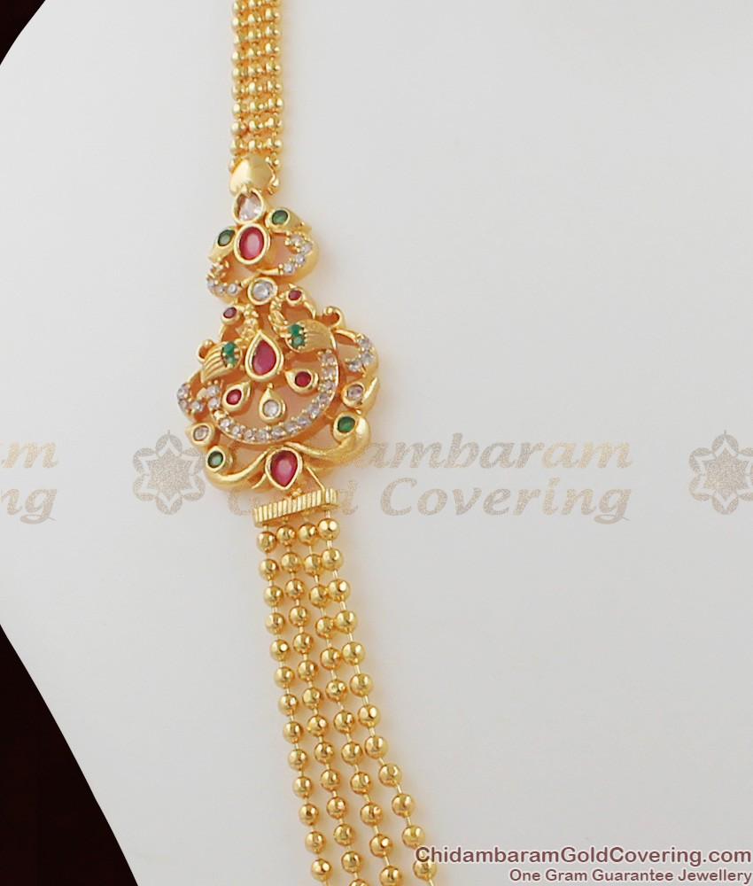 Bridal Wear Double Mugappu Gold Four Line Haram Design HR1016