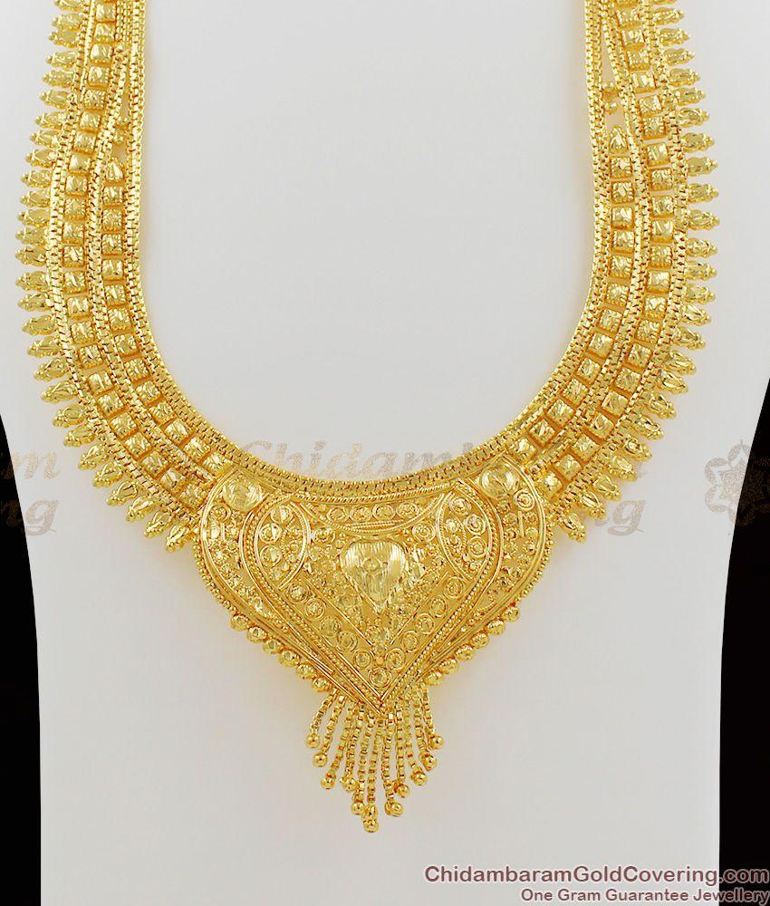 Amazing Beautiful Bridal Calcutta Handcrafter Self Work Gold Haram Jewelry HR1036