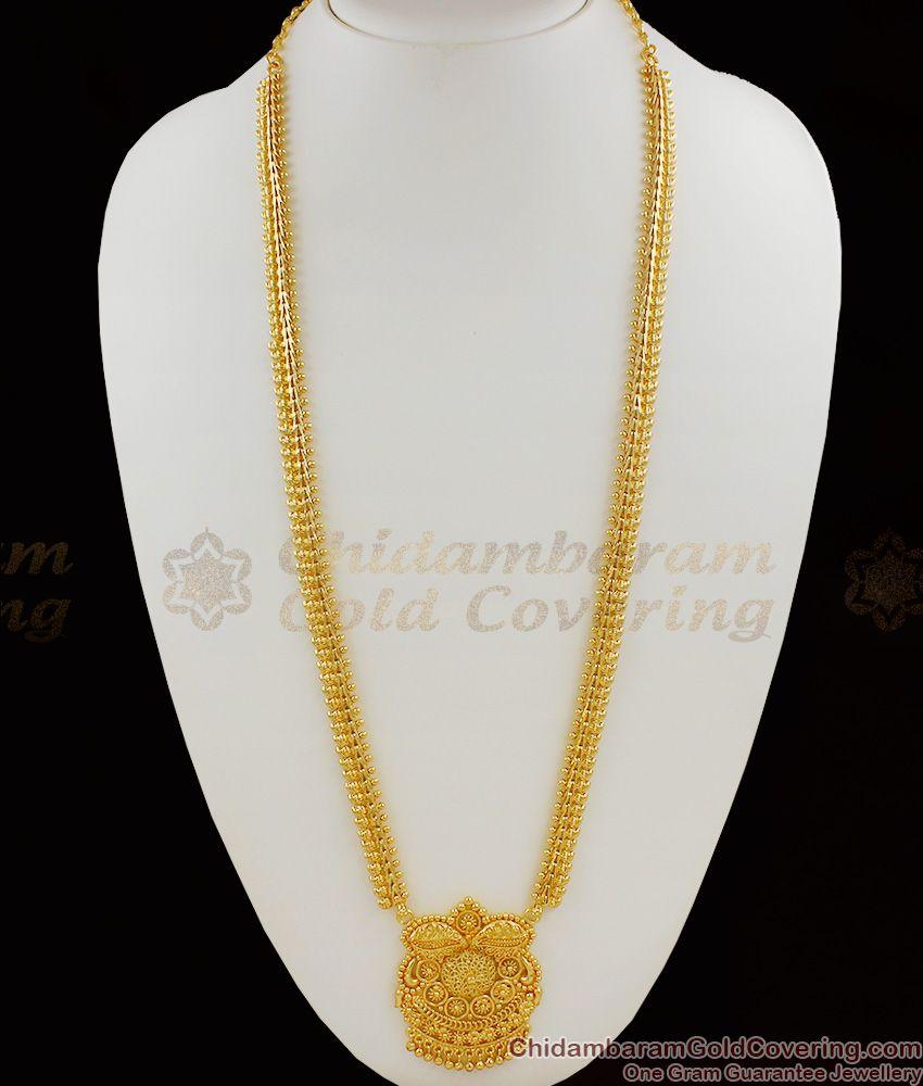 Long Dollar Chain Design Gold Imitation Haram For Wedding HR1052