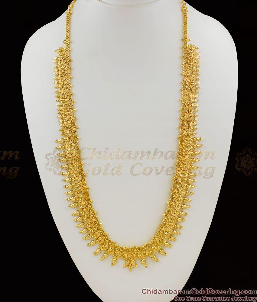 Beautiful Mango Pattern Kerala Gold Bridal Haram With Guarantee HR1066