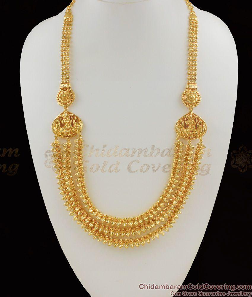 Traditional Lakshmi Design Multi Line Leaf Pattern Gold Haram Jewellery HR1069