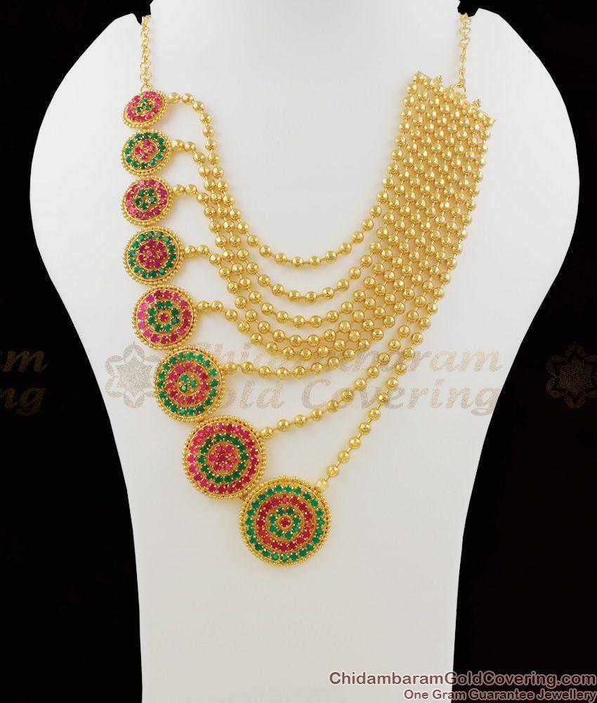 Eye Catchy Ruby Emerald Stone Party Wear Gold Multiline Pattern Haram HR1072