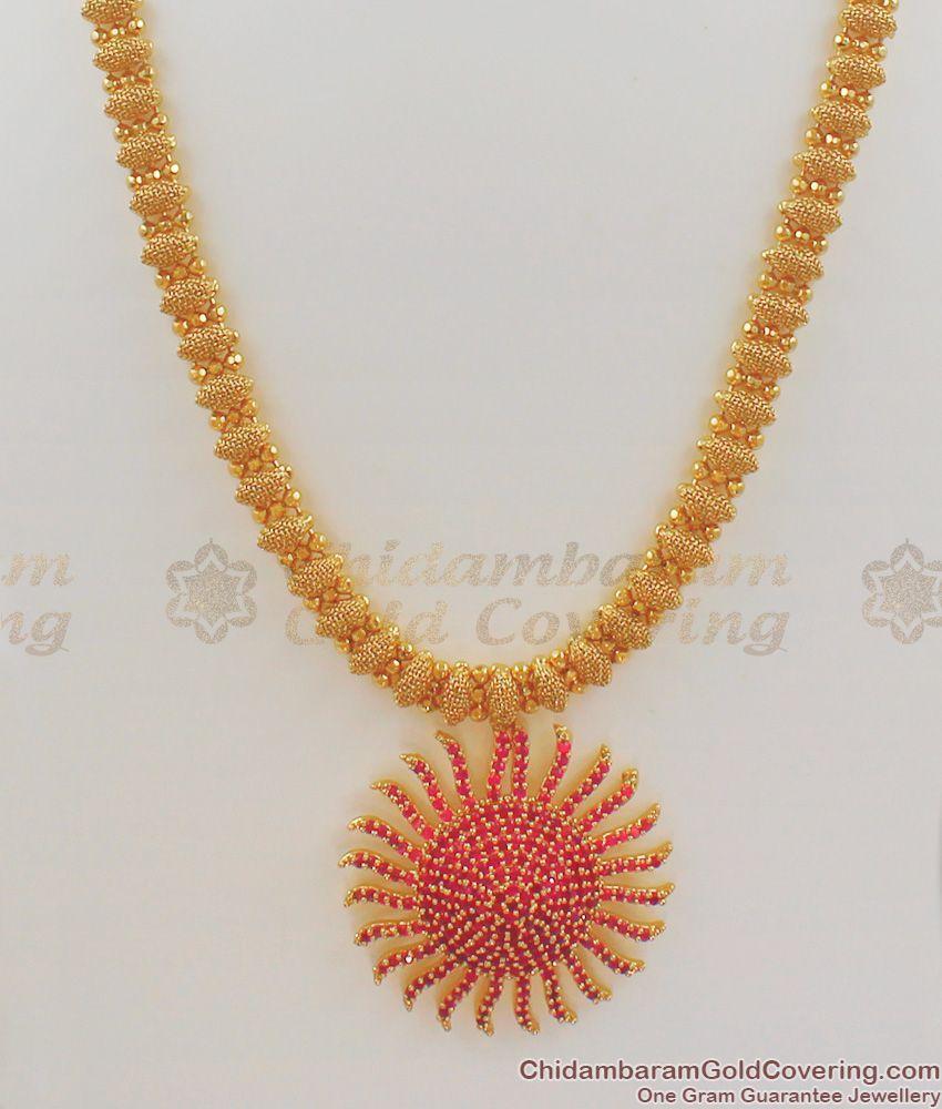 Trendy Sunflower Design Full Ruby Stone Dollar Gold Inspired Haram HR1075