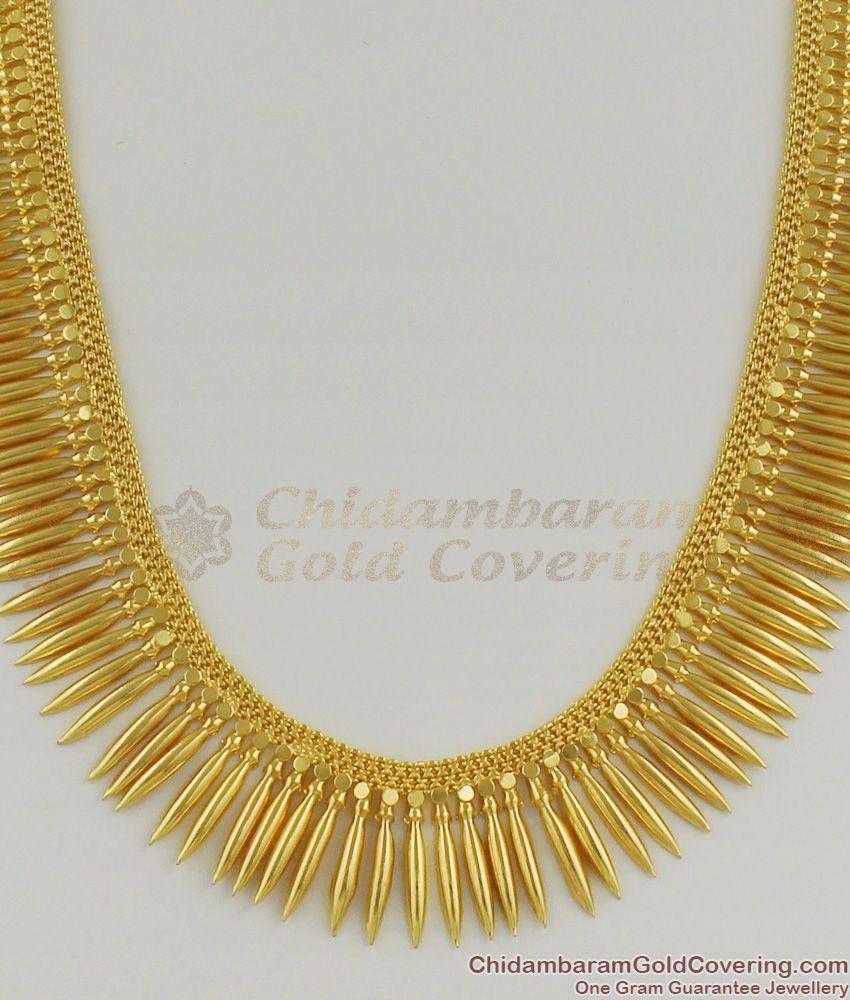 Kerala Traditional Short Mullaipoo Haram Plain Gold Plated Bridal Jewelry HR1163