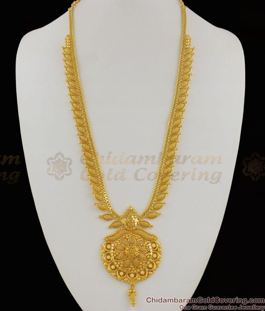 Aspiring Mullaipoo Net Pattern Plain Gold Haaram Flower Design Dollar For Marriage HR1164