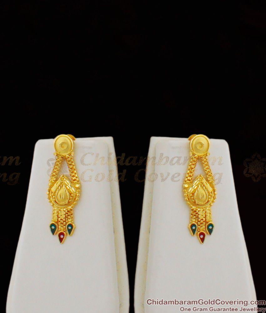 Long Bridal Combo Set Enamel Forming Gold Haaram Earrings Jewelry HR1220