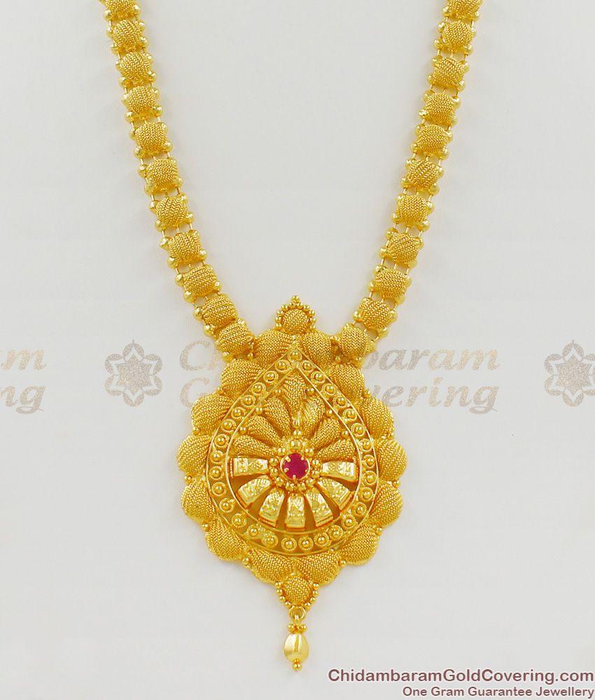 Grand Kerala Model Single Ruby Stone Gold Net Pattern Regular Haram Jewelry HR1228