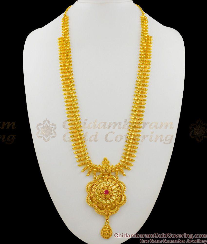 Iconic Gold Dollar Chain Model Ruby Stone Bridal Wear Haaram Malai Design HR1262