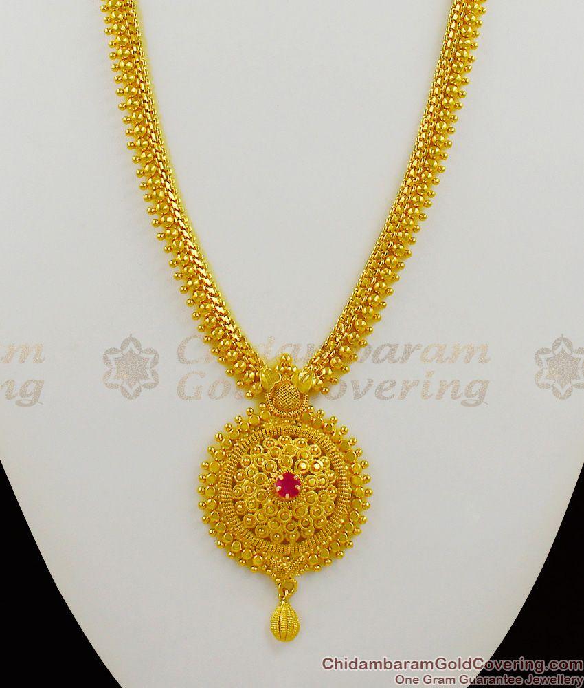 Plain Gold Pattern Long Bridal Haaram With Single Ruby Stone Jewellery Model HR1286