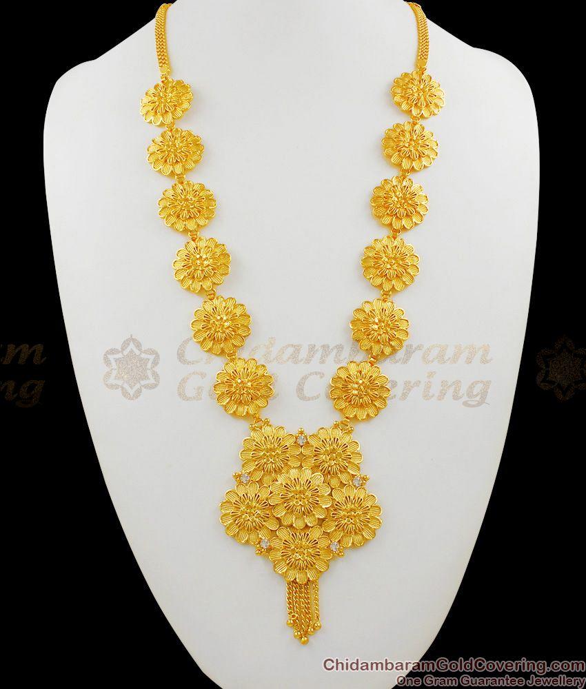 Handmade Gold Flowers Grand Kerala Long Haram Bridal Collections HR1318
