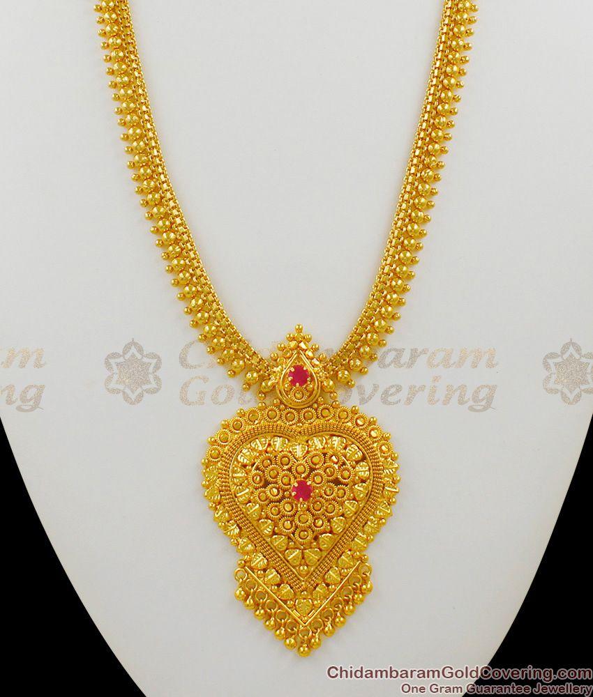 Kerala Gold Plated Heart Design Multi Color Stones Long Bridal Haaram Jewelry HR1335