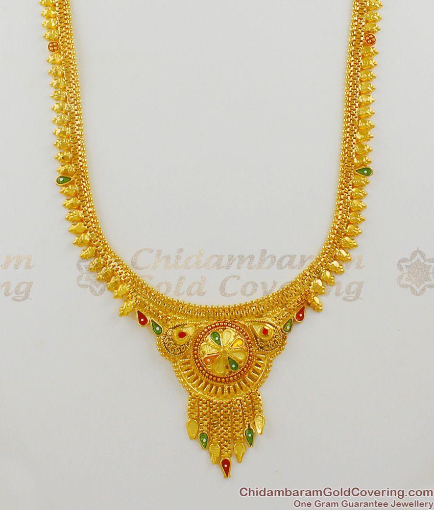Fascinating Real Gold Enamel Forming Design Traditional Haram Bridal Set Collection HR1351
