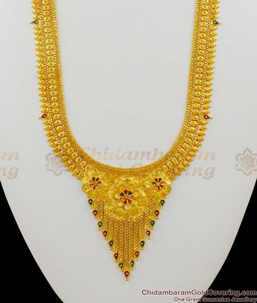 Fascinating Gold Enamel Forming Design Traditional Haram Bridal Set Collection HR1372