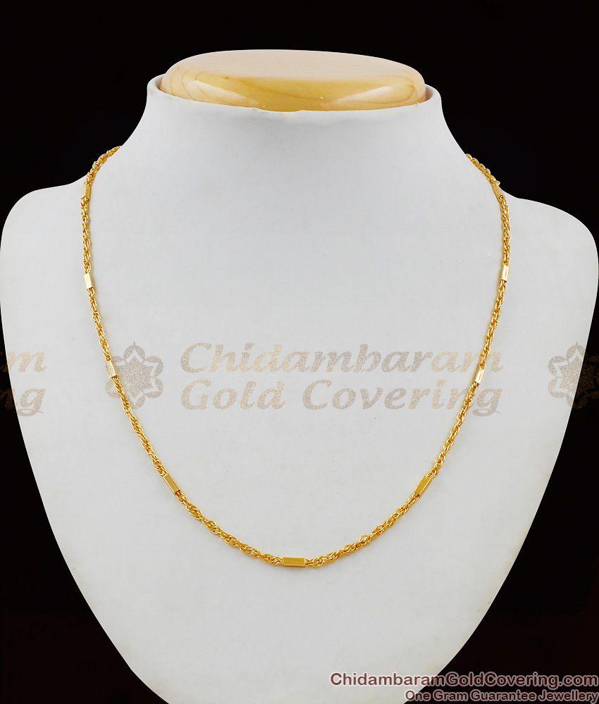 Interlock Pattern Trendy Design Gold Short Chain For Regular Use CHNS1018