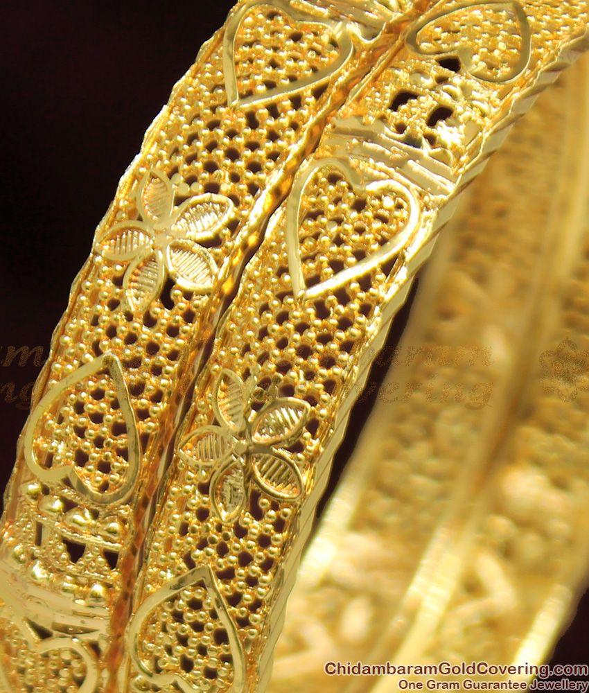 BR1040-2.6 Size Trendy Flower Heart Kerala Gold Bangles For Womens Online Shopping