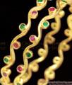 BR1055-2.8 Thin Ruby Emerald Stone Nelli Gold Bangle Diwali Collection