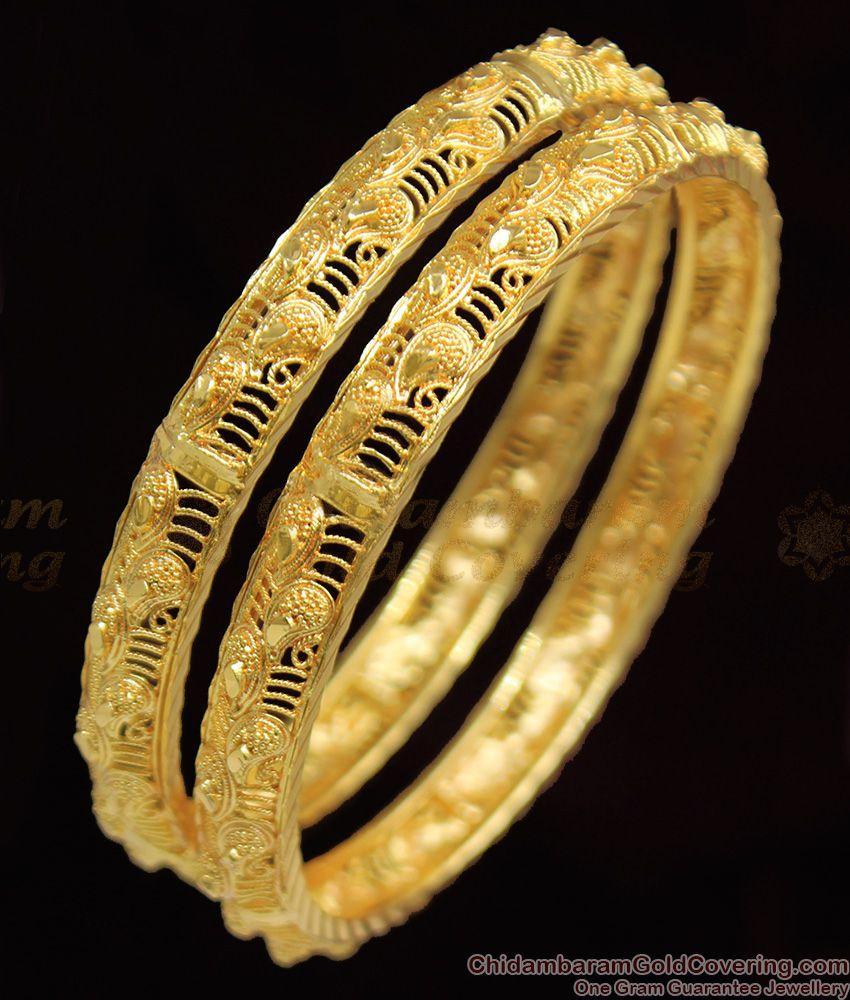 BR1086-2.10 Attractive Gold Leaf Model Festive Design Bangles Collection Online