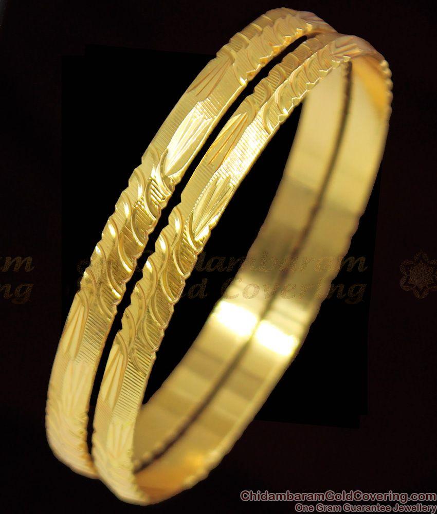 BR1093-2.8 Real Gold Finish Regular Use Bangles Handmade Design