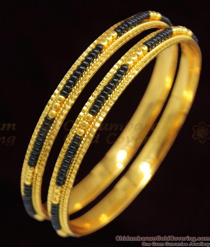 BR1094-2.8 Karugamani Black Beads Design Gold Bangles For Married Womens
