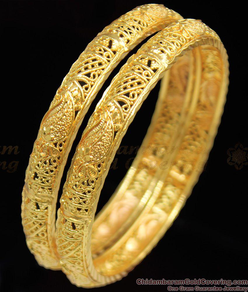 BR1099-2.4 Mango Leaf Self Design Gold Inspired Bridal Bangles Collection