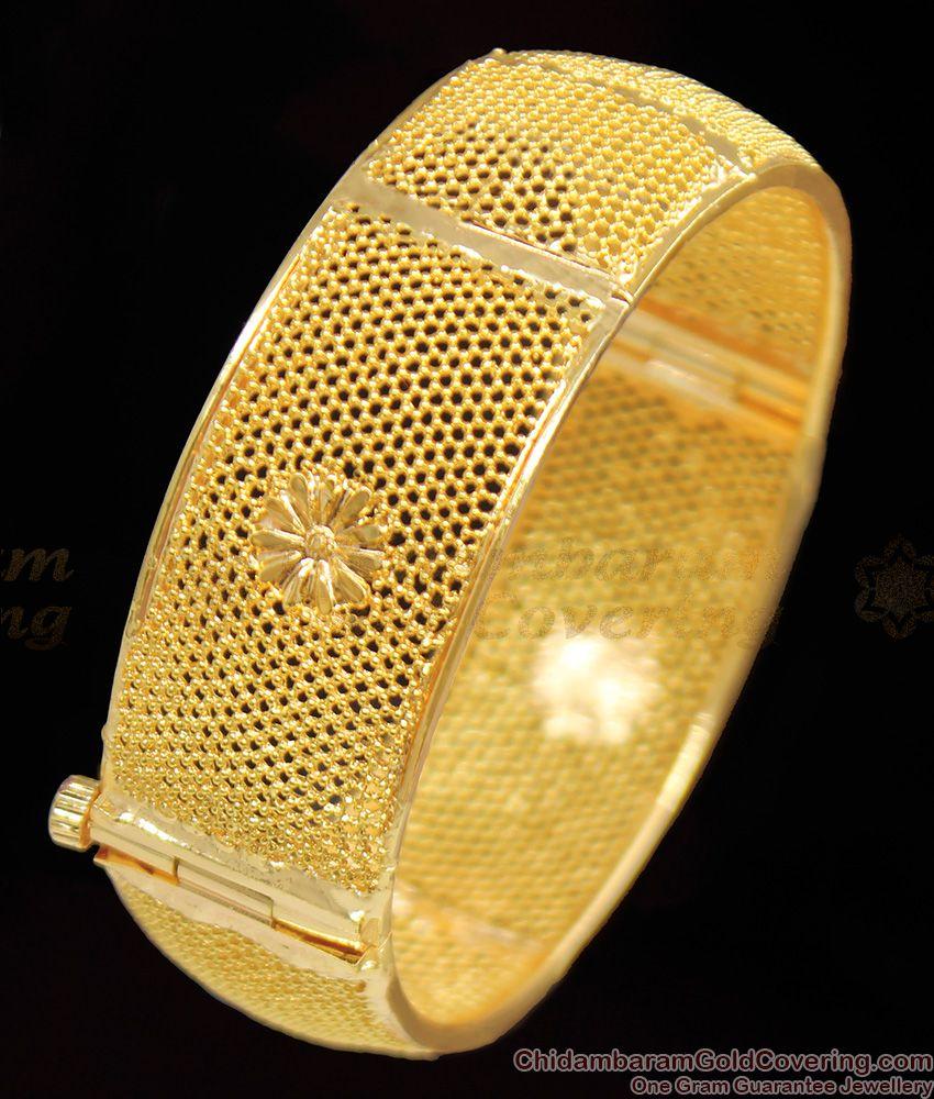 BR1115-2.6 Calcutta Design Fancy Gold Plated Kada Broad Bangle Screw Type