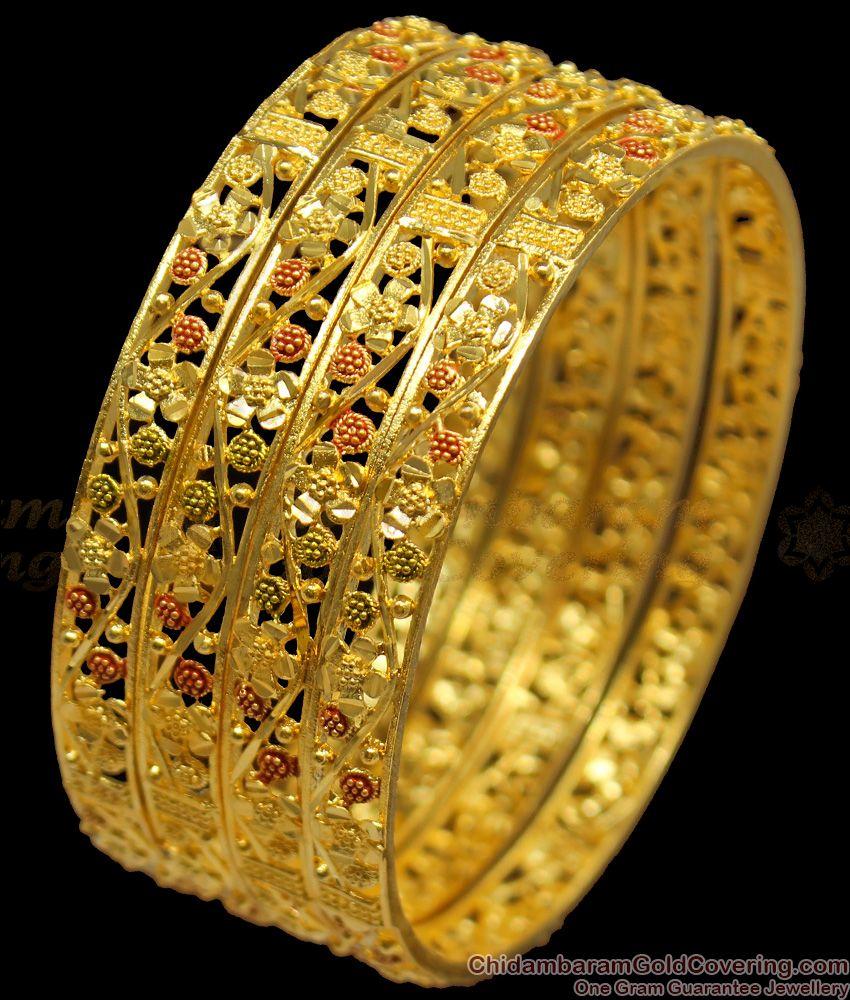 BR1151-2.4 Precious Flower Design Enamel Forming Gold Bangles Set Of Four