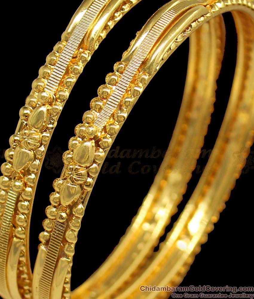 BR1172-2.6 Unique Square Pattern Gold Plated Handmade Design Bangles