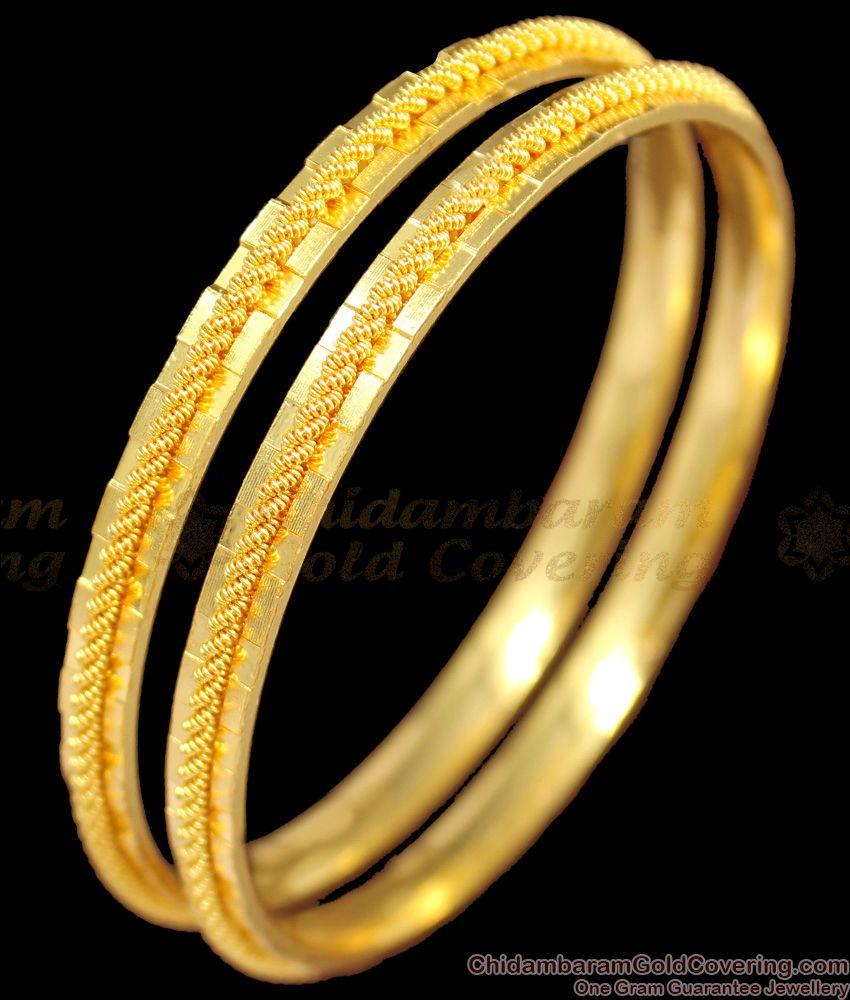 BR1209-2.8 Unique Gold Pattern Handmade Design Bangles Online Shopping