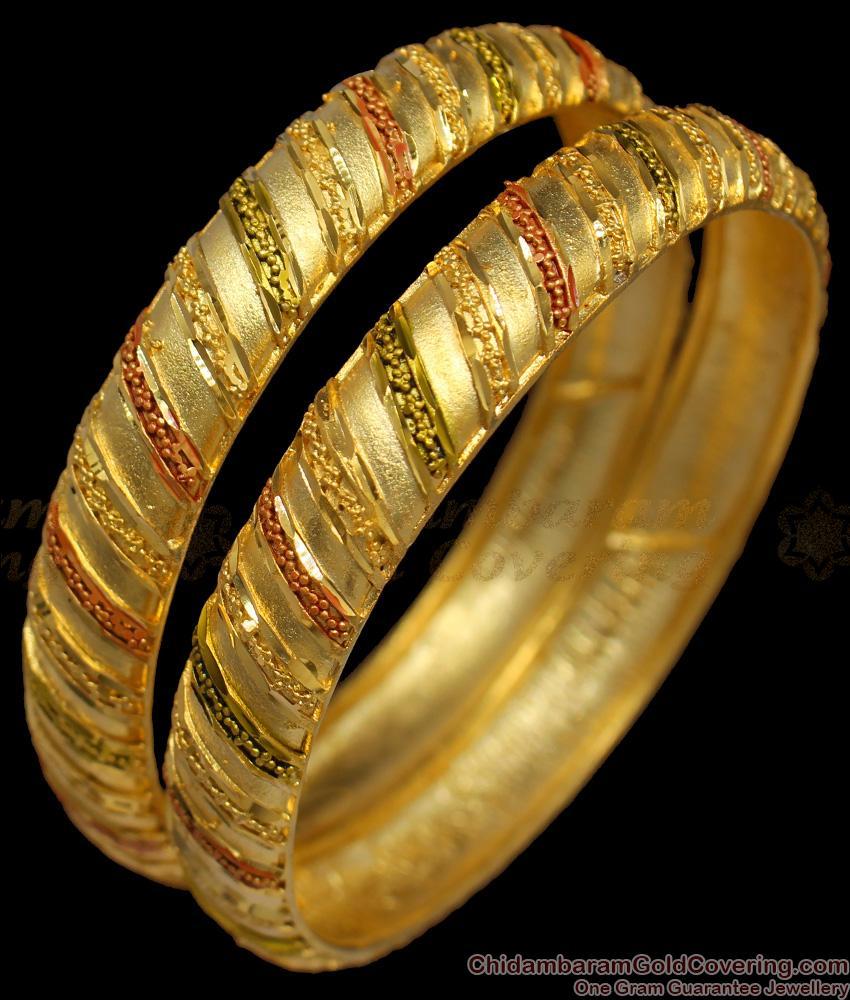 BR1232-2.8 Broad Kada Model Enamel Gold Forming Bridal Collection Bangles