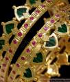 BR1270-2.8 Size Set of Two Grand Palakka Green Stone Kerala Bridal Set Bangle Collections