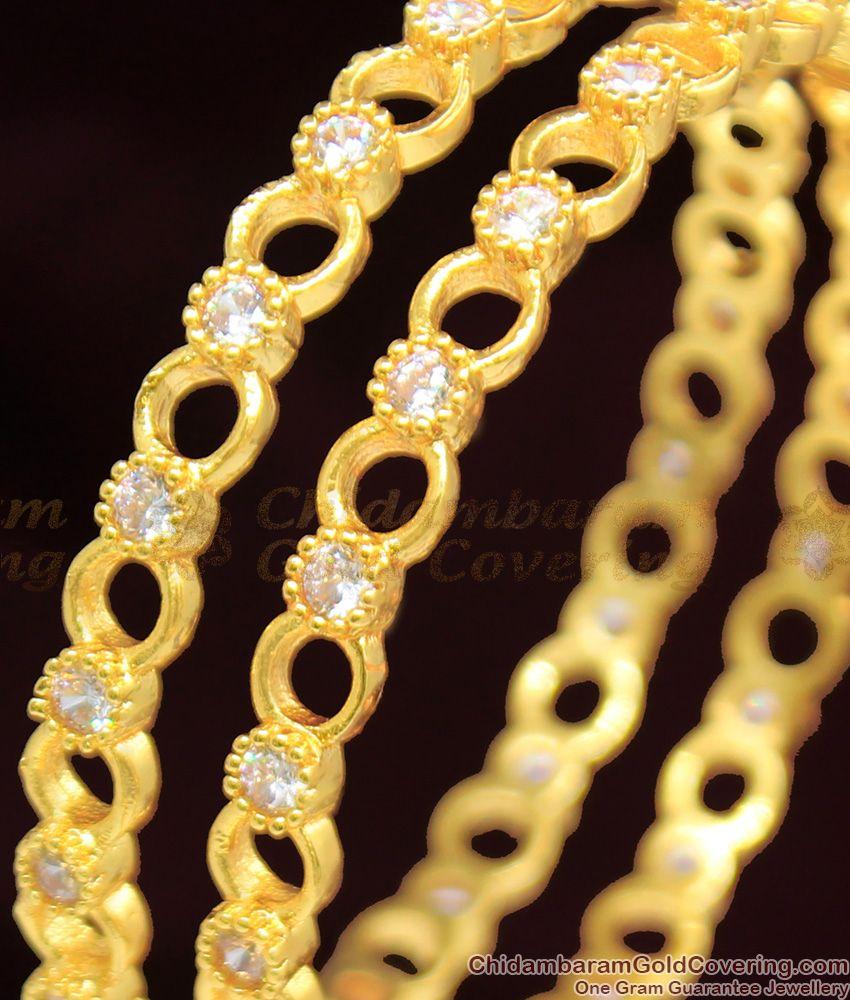 BR1056-2.8 Attractive White Diamond Stone Trendy Gold Bangle Diwali Collection