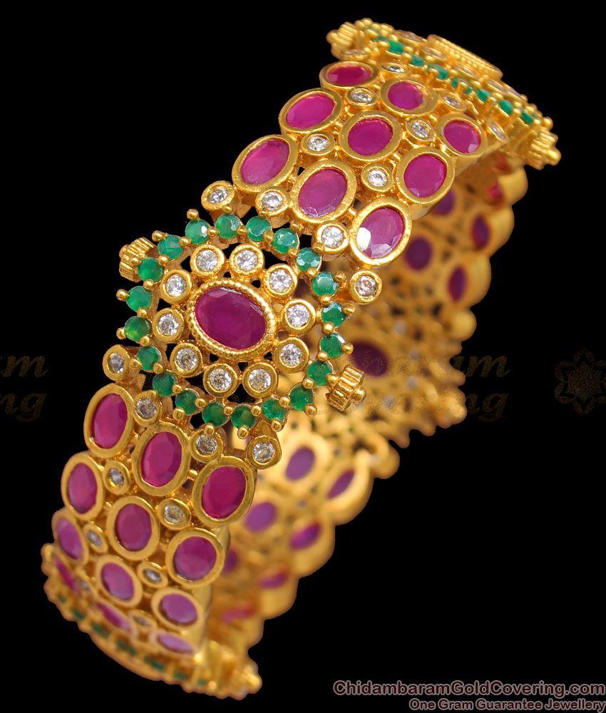 BR1255-2.6 Size Premium Antique Finish Real Gold Design Single Broad Kada Bangle