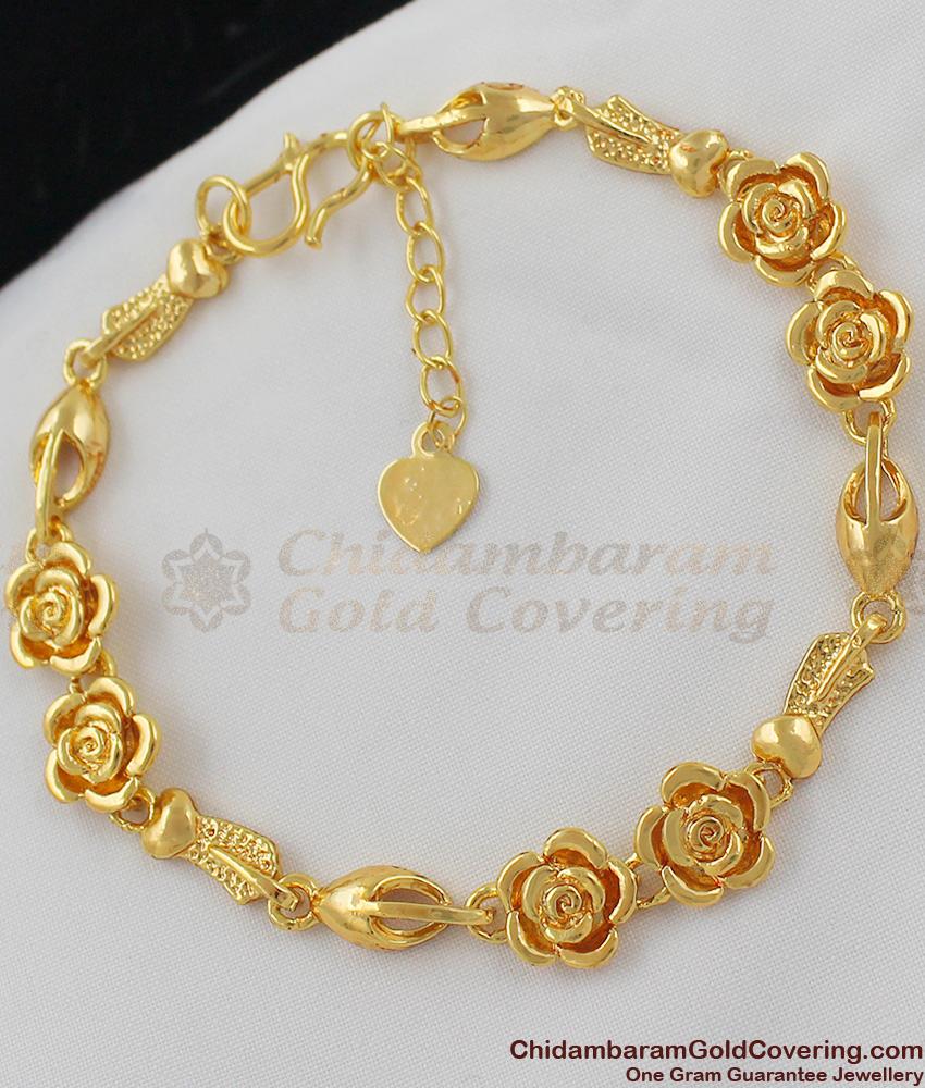 Rose Flower Trendy Gold Tone Women Bracelet Office Use BRAC030