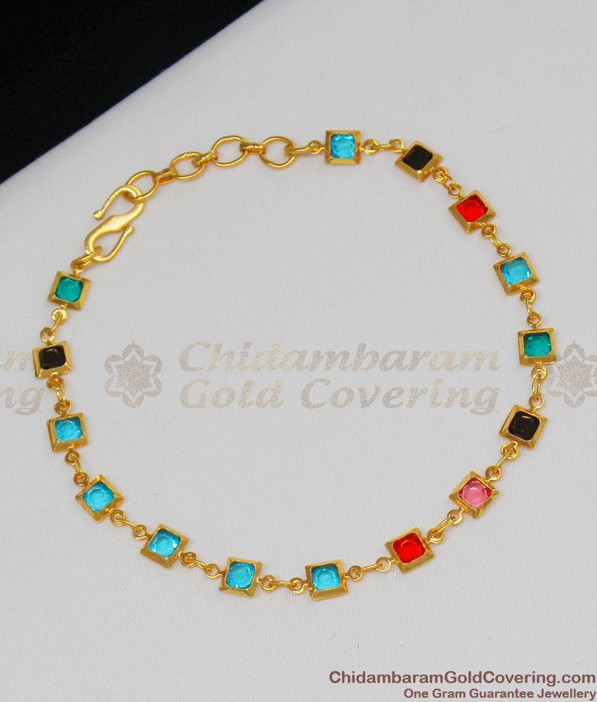 Multi Color Aqua Stone Gold Finish Bracelet For Ladies Latest Design BRAC086