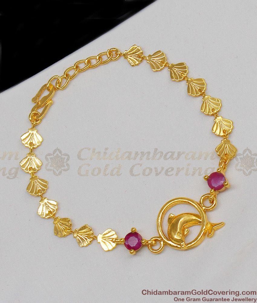 Double Ruby Stone Dolphin Design Gold Plated Shell Bracelet Trendy Jewelry BRAC109