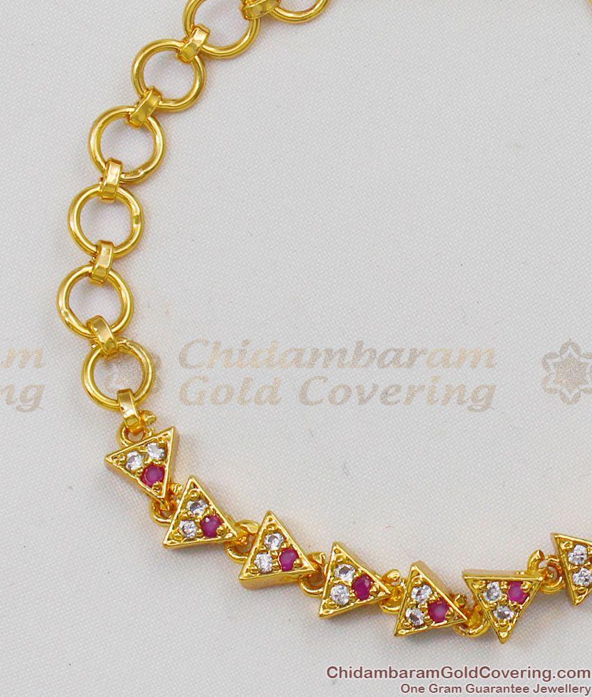 Trendy Imitation Gold Jewelry Pyramid Design Stone Bracelet For Ladies BRAC139