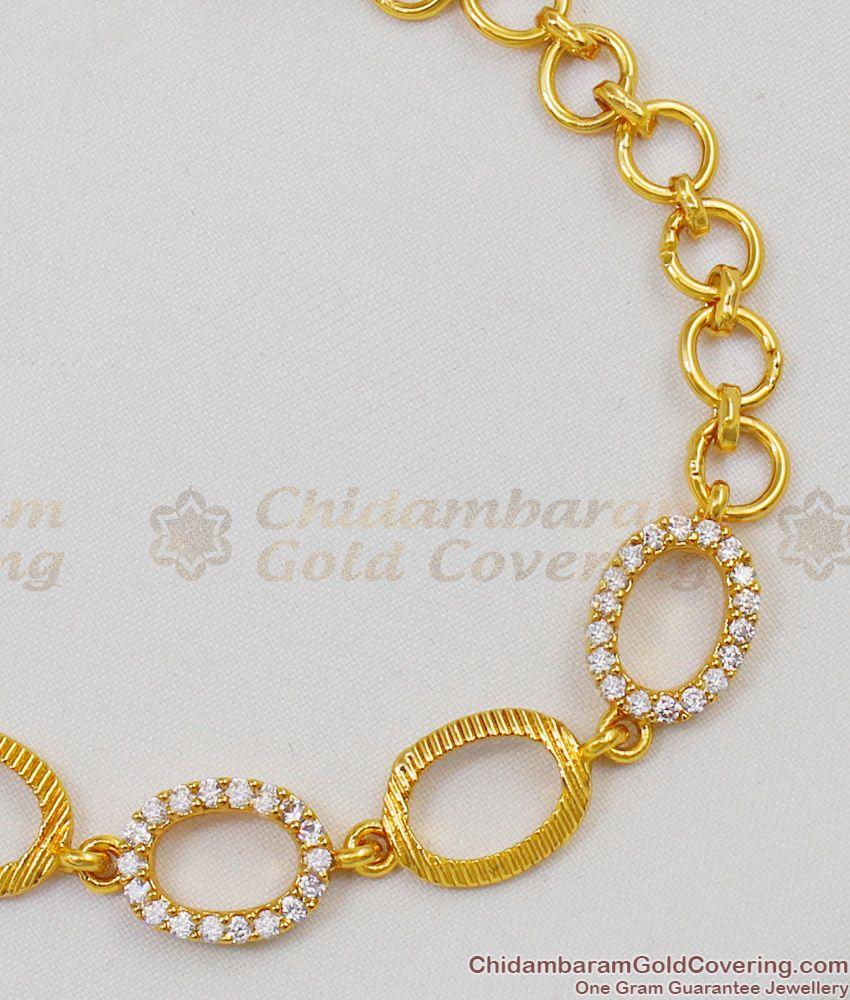Full White Stone Gold Bracelet Diamond Pattern Jewelry For Ladies Online BRAC143