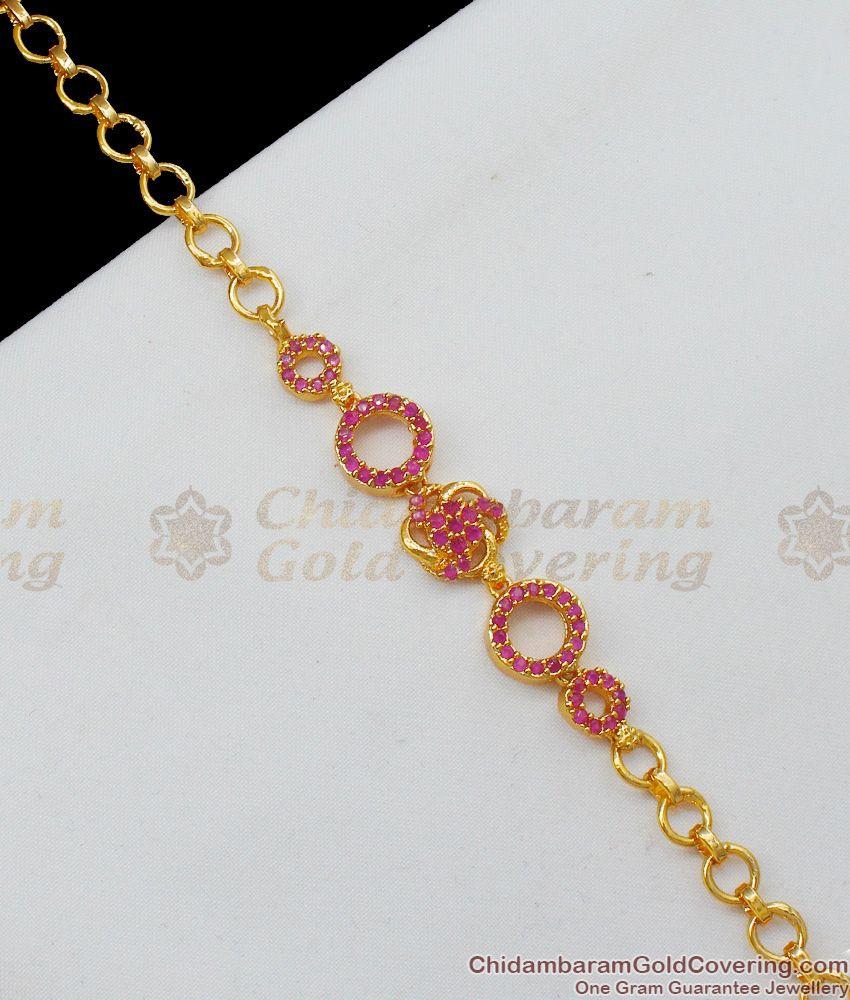 Watch Pattern Beautiful Ruby Stone Gold Plated Bracelet For Ladies BRAC148