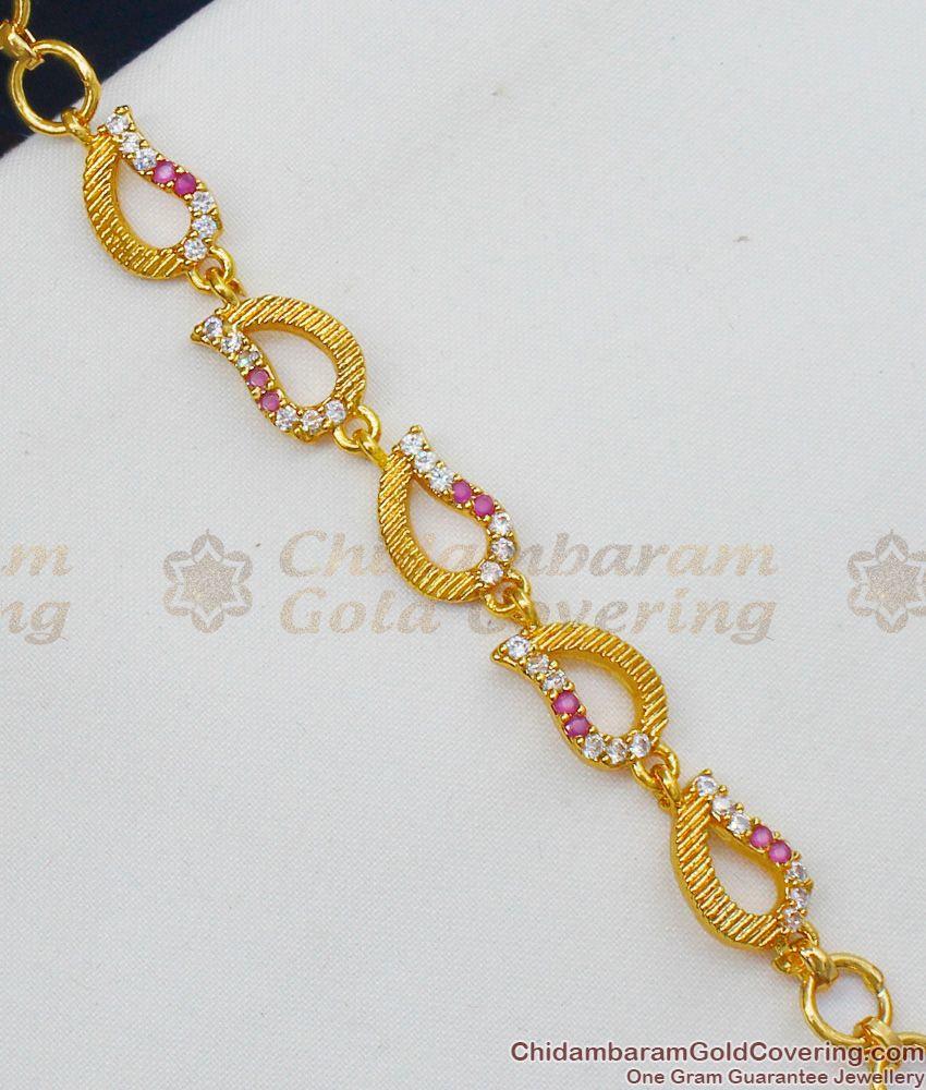 High on Fashion Gold Bracelet Ruby Pattern Jewelry For Ladies Online BRAC154