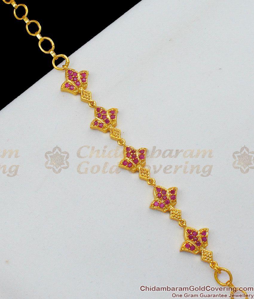 Full Ruby Flower Womens Bracelet Online Gold Jewelry Gift for Someone Special BRAC162