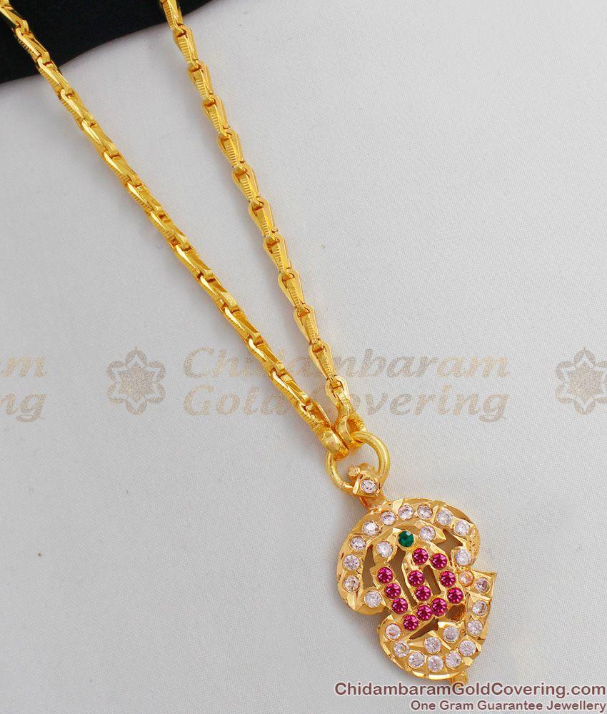 Small Size Om Gold Impon Multi Stones Dollar Chain For Womens Regular Wear BGDR400