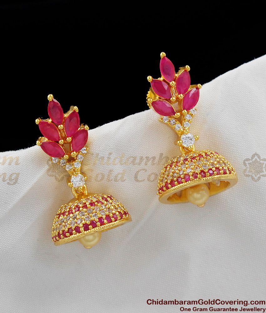 White AD Ruby Stone Design Pearl Jhumka Bridal Wear Earrings ER1088