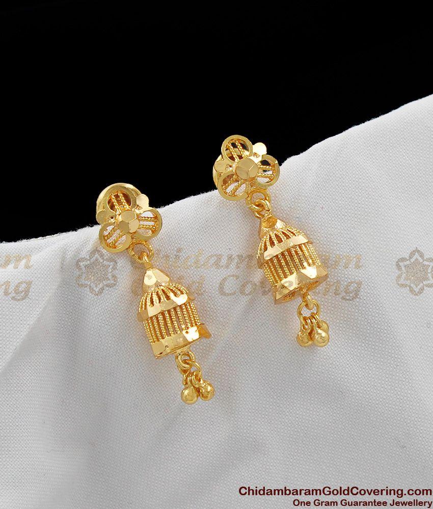 Daily Wear One Gram Gold Jhumka Design For Ladies Online ER1092