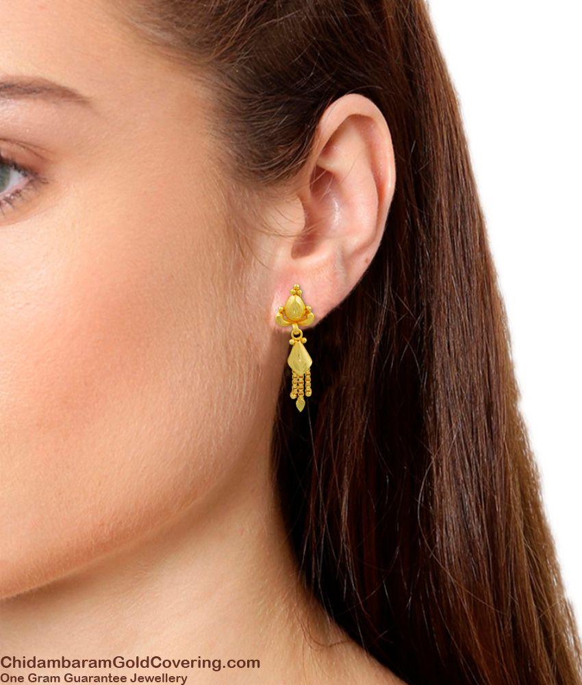 Attractive Real Gold Forming Dangler Earrings Design For Girls Shop Online ER1096