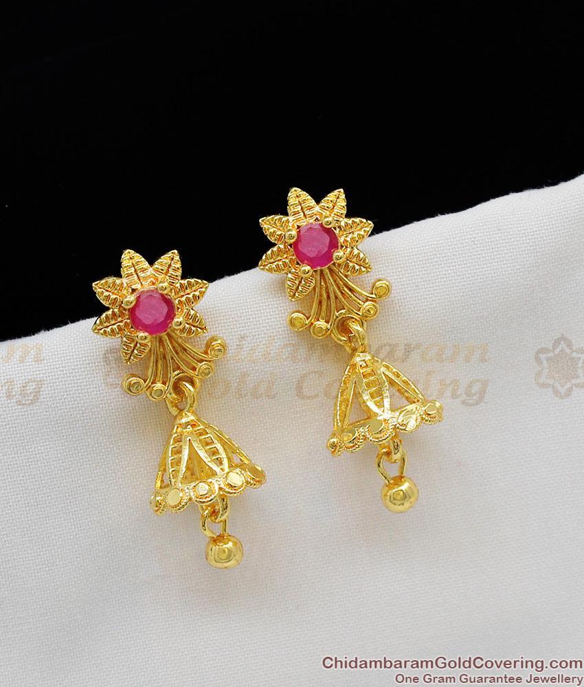 Sunflower Pattern Ruby Stone Jhumki Gold Earring For Women Office and College Wear ER1116
