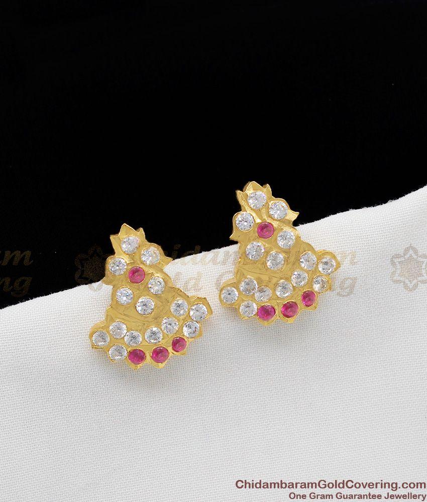 Temple Gopura Kalasam Design Impon Traditional Gold Earring Stud for Regular Use ER1137