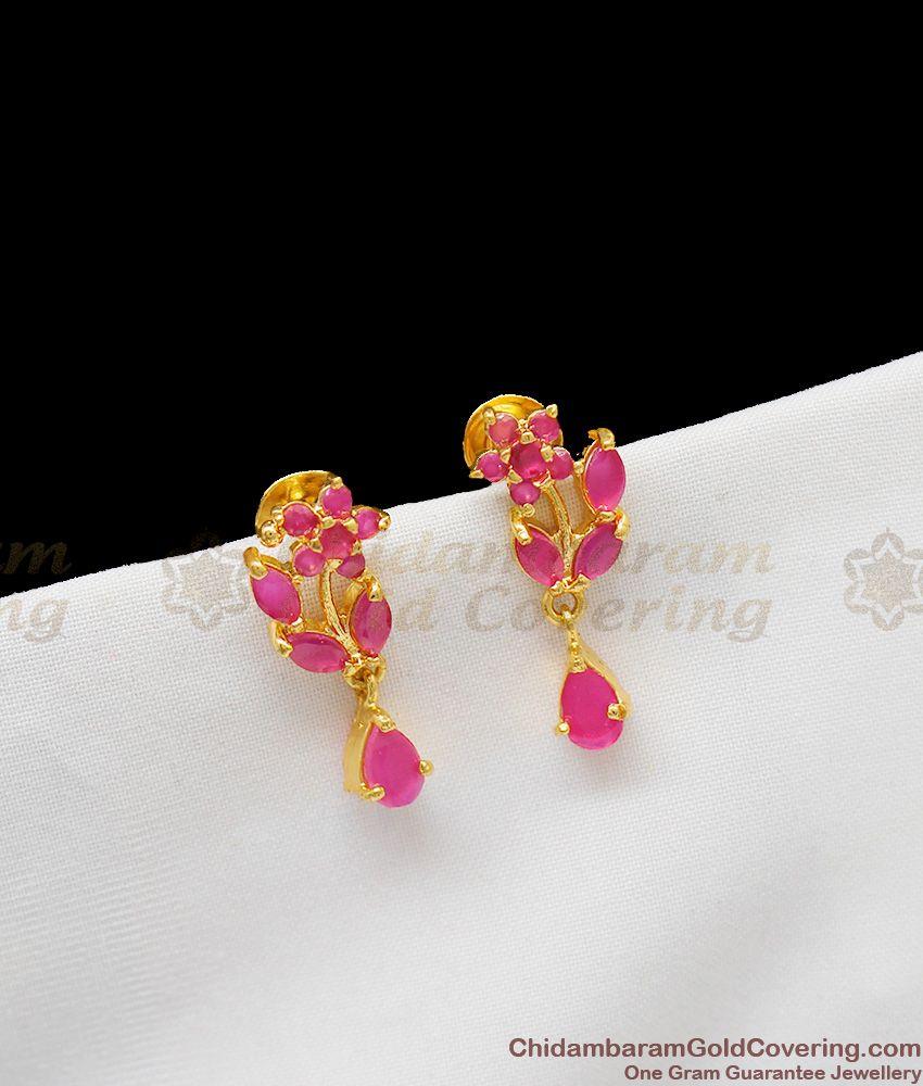 Full Ruby Stone Semi Precious Sunflower Model Studs For Girls ER1263