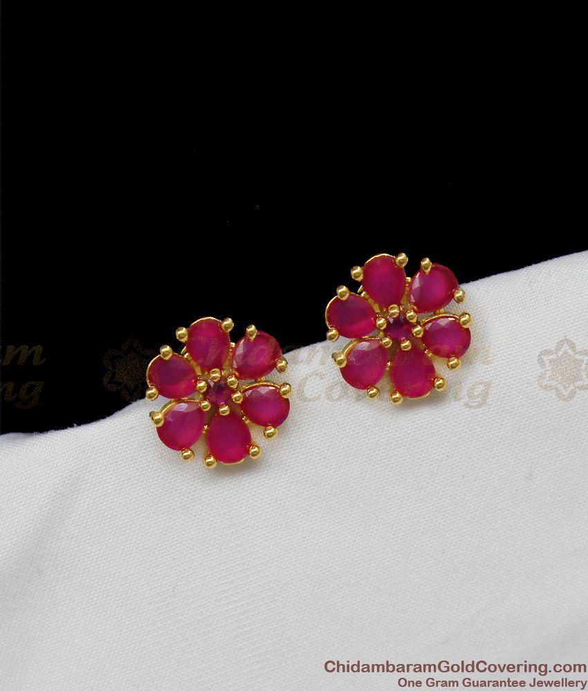 One Gram Gold Earring With Full Ruby Stone Six Petal Flower Design Studs ER1297
