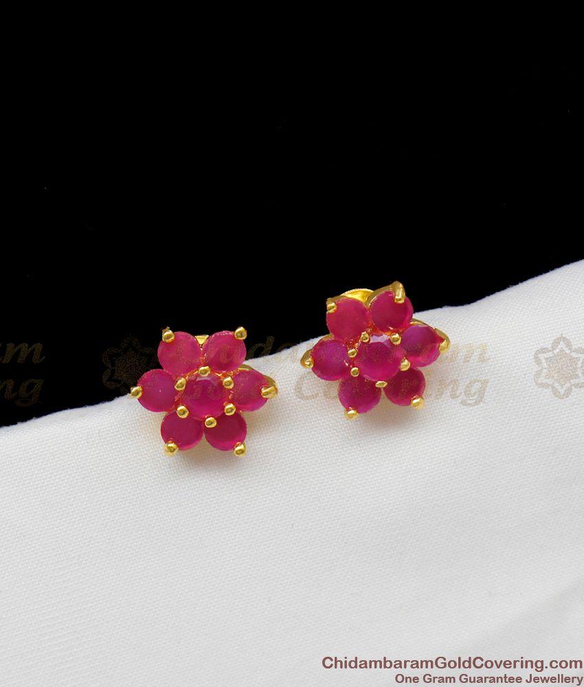 Trendy Ruby Stone Flower Design Gold Earrings For Girls Stud Model ER1303